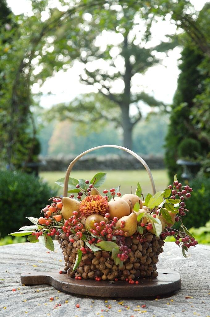 beautiful fall basket arrangement