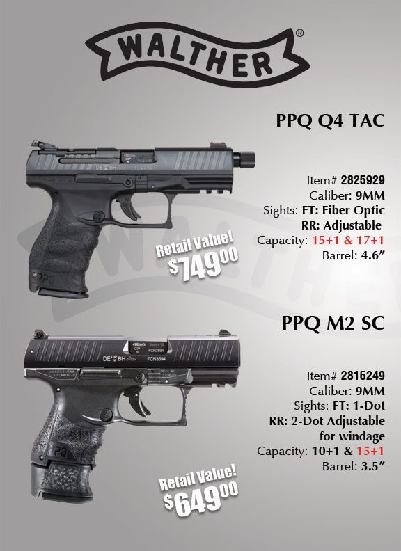 Walther PPQ M2 Subcompact 9mm Pistol / Walther PPQ Q4 Tac