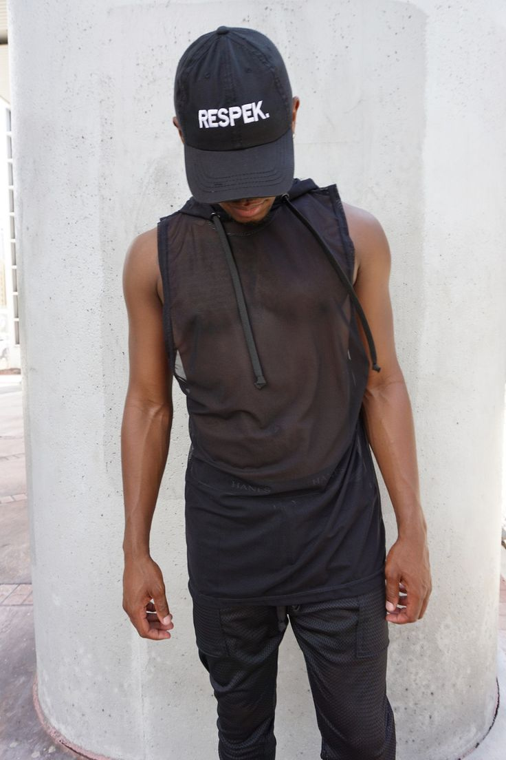 Mens Black Mesh Sleeveless Hoodie / Mens Tank Top / Handmade by GAG THREADS * ITEM TAKES 2-3 BUSINESS WEEKS TO PRODUCE. * - Black mesh - Top stitched - Black Drawstring Model size: SMALL -------------