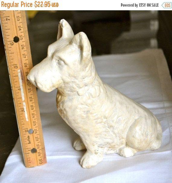 Vintage Schnauzer Dog Creamy Antique White Schnauzer Plaster Composite Figurine by StudioVintage on Etsy