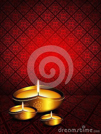 Oil lamp with diwali greetings over dark red background