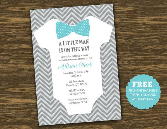 Little Man Baby Shower Invitation Printable by SweetGumdrop, $15.00