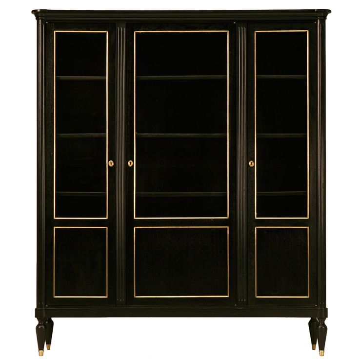 Elegant & Refined Ebonized French LXVI Mahogany Bookcase/Cabinet