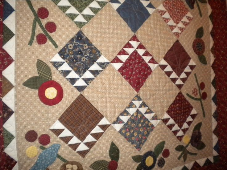 Muted Quilt with Diamond and Fruit Design - how to get sharp points