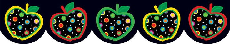 Colorful Dots On Black Apples Bulletin Board Border