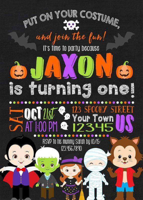 Halloween Birthday Invitation Halloween Birthday Invitation Etsy Halloween Birthday Invitations Birthday Invitations Kids Kids Halloween Birthday Invitation