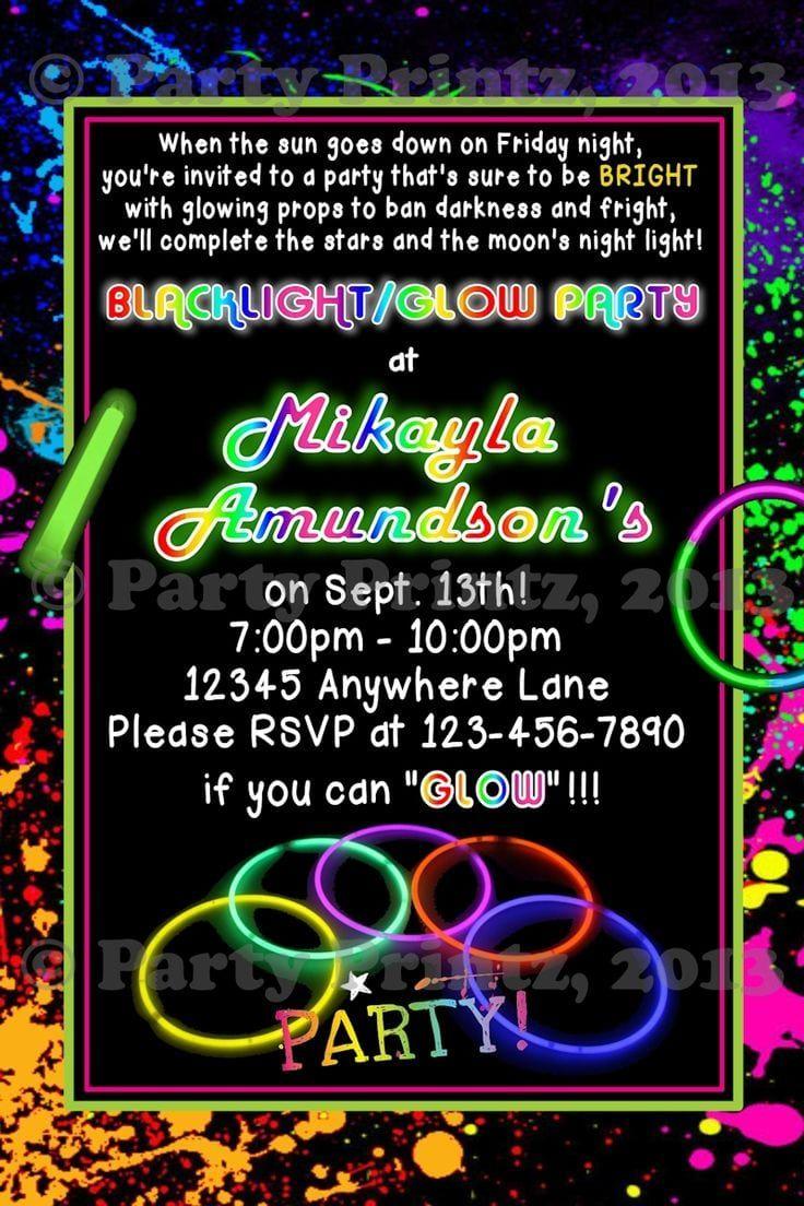 Glow Party Invitation Wording