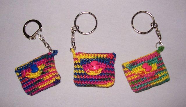 Free Knitting Pattern Keychain : Ravelry: Striped Keychain purse pattern by Mimi Alelis (FREE PATTERN) Knit ...