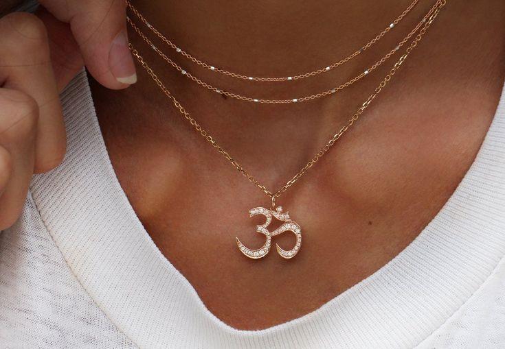 14kt gold and diamond Om necklace – Luna Skye