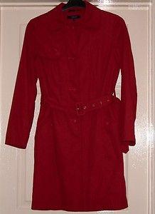 Ladies red trenchcoat rainmac knee length red coat mac Size 10 Debenhams | eBay