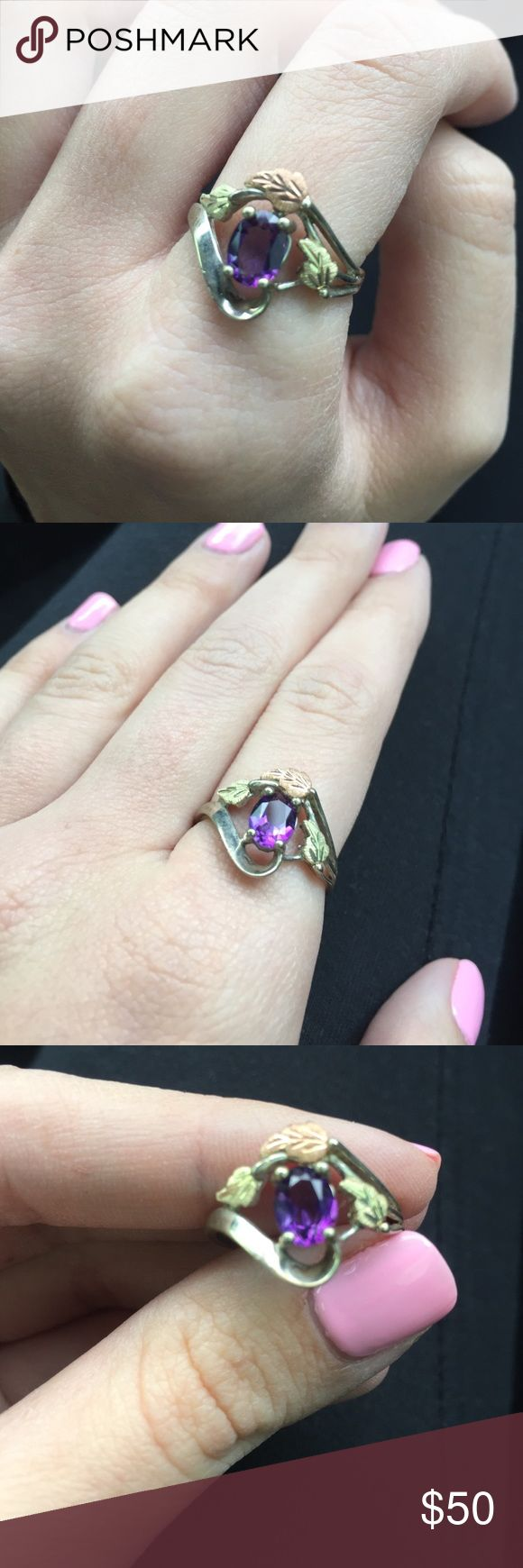 Black hills gold ring! Beautiful never worn black hills gold ring with amethyst stone in the middle. Jewelry Rings
