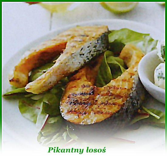 Kawałki ryby opłucz, dokładnie osusz, skrop sokiem z cytryny, oprósz pieprzem i przyprawą do ryb (...)