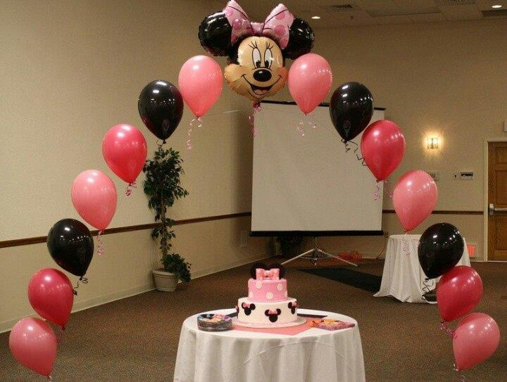 Mickey or minnie latex balloon arch mickey minnie for Balloon string decorations