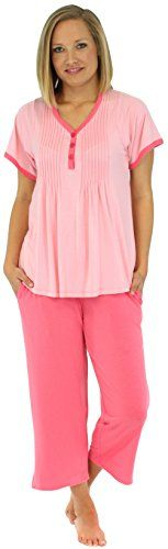 PajamaMania Women's Summer V-Neck Short Sleeve Capri Pajama Set (PMR1930-2022-MED):   PajamaMania short sleeve pajamas have a wrinkle free relaxed fit, tag free comfort, and are luxuriously soft- perfect for relaxing and sleeping. Sizing: XS (2-4), S (6-8), M (10-12), L (14-16), XL (18-20)