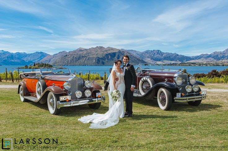Wedding photo with the cars at Rippon Vineyard