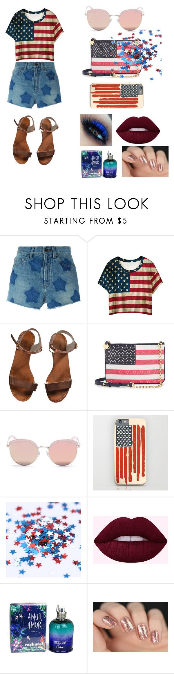 """""""Happy Independence Day !!! USA"""" by cristhina-a-dieguez-c on Polyvore featuring moda, Yves Saint Laurent, WithChic, Emporio Armani, Draper James, Stephane + Christian y Cacharel"""