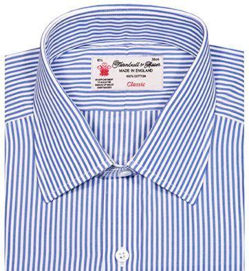 Modrá proužková košile s dlouhým rukávem a zapínáním na 3 knoflíčky, Turnbull & Asser