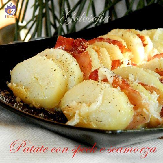 Patate con speck e scamorza, goloso contorno o secondo piatto, semplice e veloce da preparare.