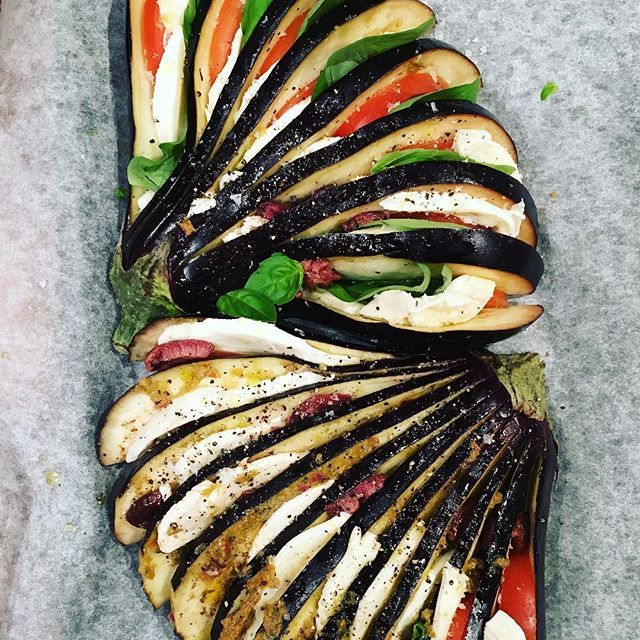 Fanned aubergine with tomato, mozzarella and basil. www.firstfruittable.com