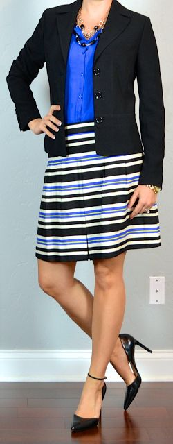 Outfit Posts: outfit post: cobalt blue blouse, black suit jacket, striped skirt, pointed toe pumps