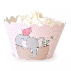 Διακοσμητικές θήκες για cupcakes Κιβωτός του Νώε ροζ
