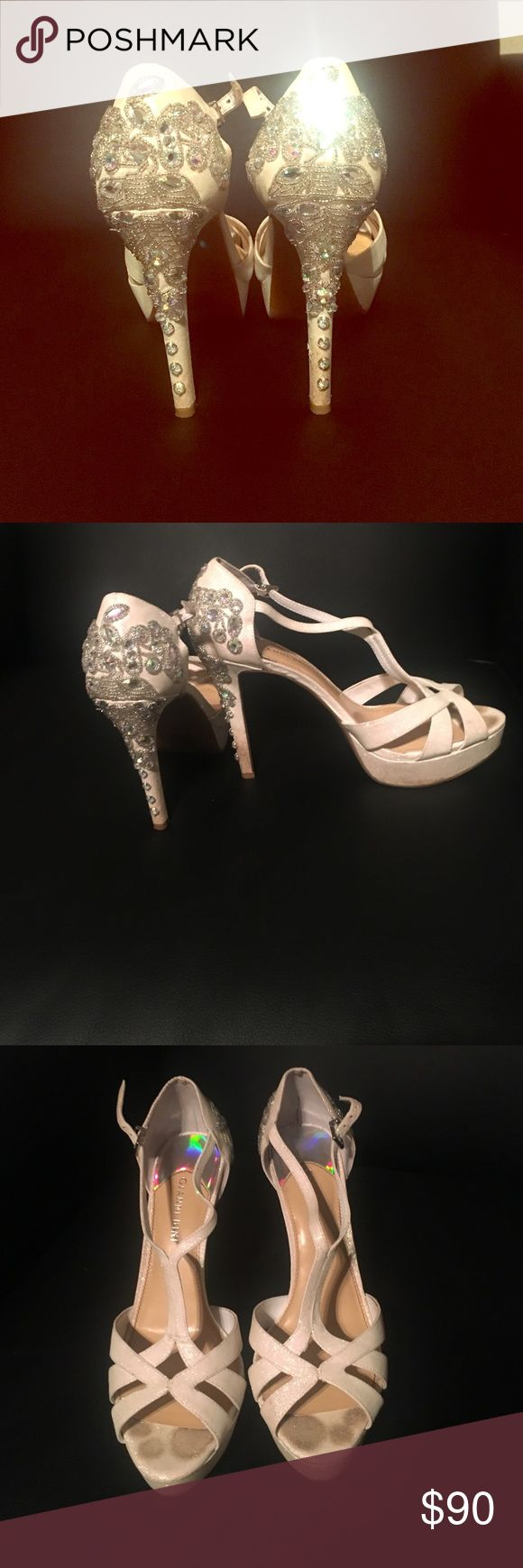 ✨ Gianni Bini heels ✨ Gorgeous white heels! Still in box! Only worn once for prom! They do have toe prints on them and a little dirt on the bottom of the heel just because I walked around in them all day but easily cleaned! Gianni Bini Shoes Heels