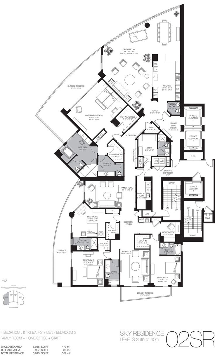 Luxury beach home floor plans miami luxury real estate for Condo floor plan
