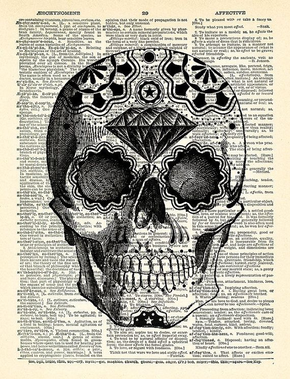 Sugar Skull Art Print Day of the Dead Art Mexican by PrintsVariete                                                                                                                                                                                 More
