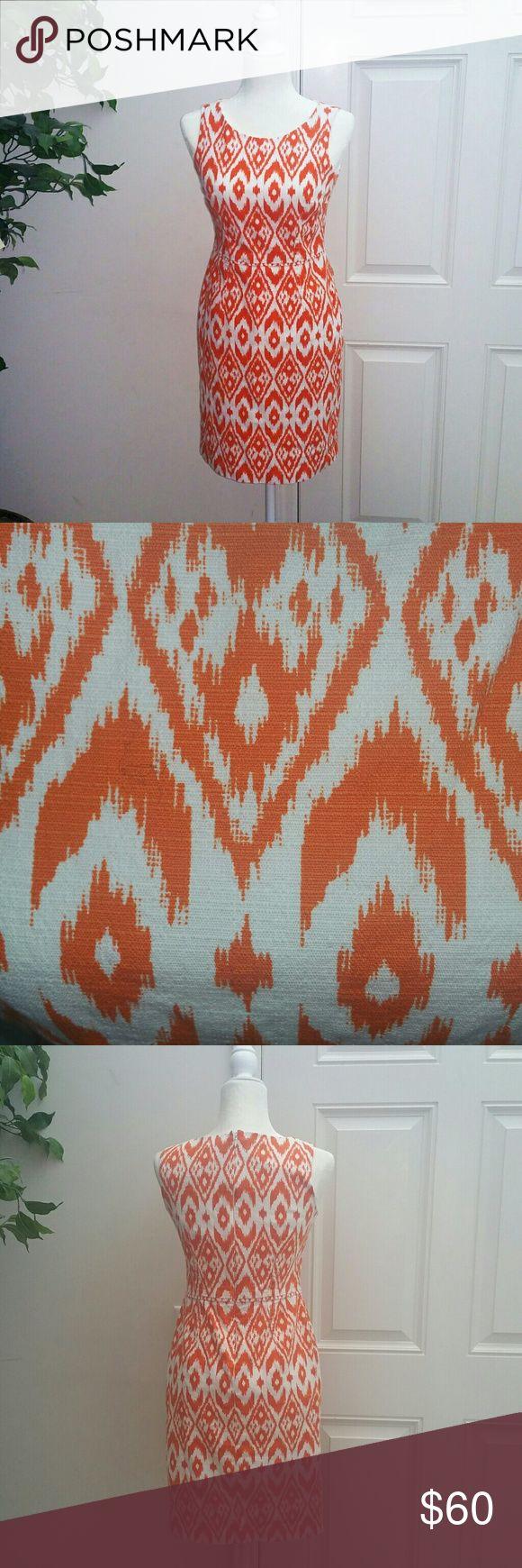 Nine West Orange Print Linen Dress Perfect for spring and summer Lightly worn Nine West Dresses Midi