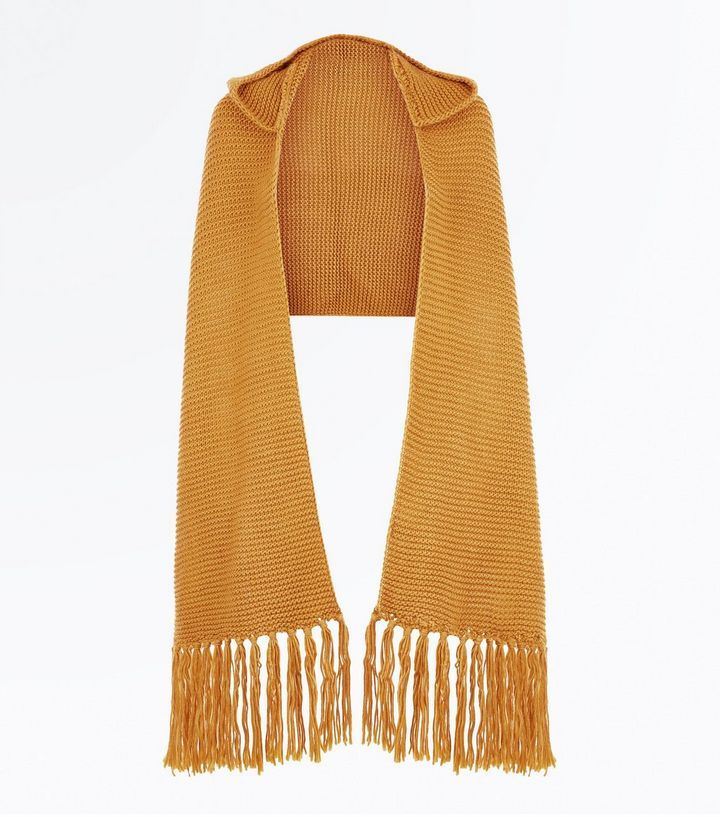 Mustard Yellow Knit Hooded Scarf | New Look