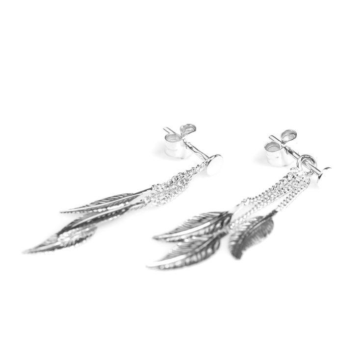 #Bijou Femme :: #Boucles d' #oreilles 3 #Plumes pendantes - Disponibles en #Or Blanc ou en Or Jaune.