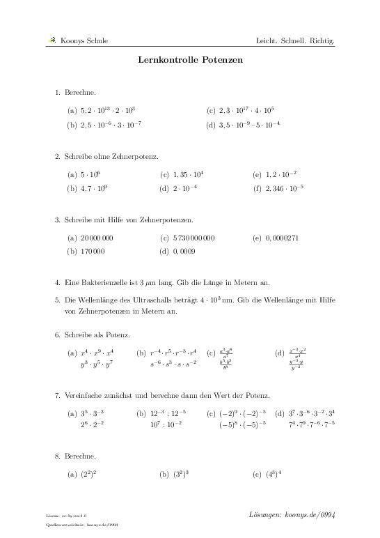Lernkontrolle Potenzen   Aufgaben mit Lösungen und Videoerklärungen   #0994 #Teiler #Übungen #Anwendungen #Lösungsmenge #binomische Formeln