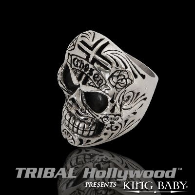 CHOSEN DAY OF THE DEAD SKULL Sterling Silver Mens Ring by King Child