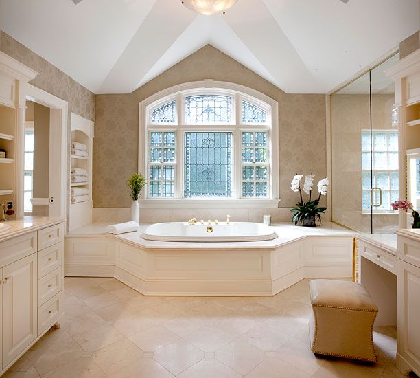 Beautiful master bathroom window homes i adore pinterest for Bay window bathroom ideas
