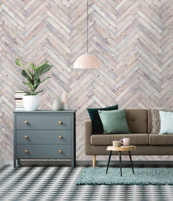 Removable Wallpaper | Peel and Stick Chevron Wallpaper | Self Adhesive Rustic Wallpaper | Parquet Wa