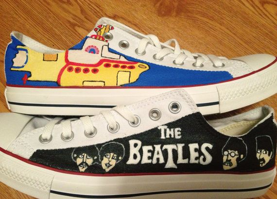 0a759c1f135e71 The Beatles Hand Painted Converse Shoes by CandysCustomPaints ...