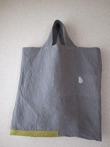 刺し子のbag・気まぐれロボット・ちくちくステッチのぺたんこバッグ