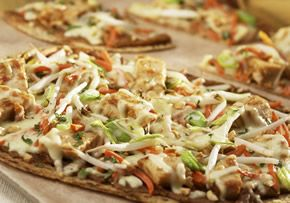 thai chicken pizza on a flatout roll | Main Dishes | Pinterest