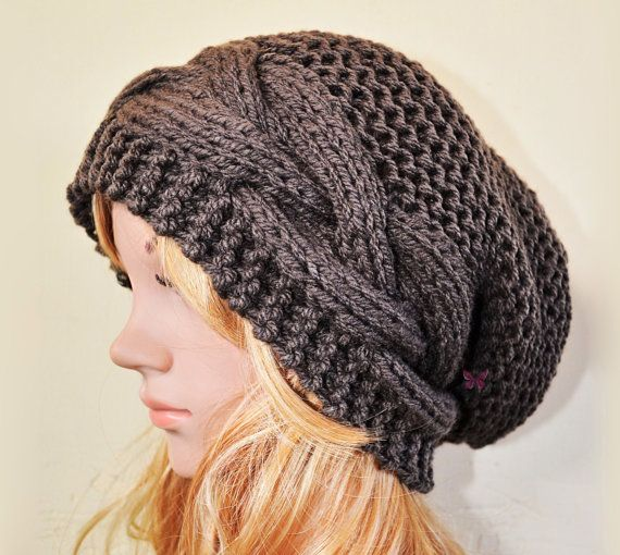 Slouchy Cable Mix style beanie hat  DEEP TAUPE / by BeanieVille