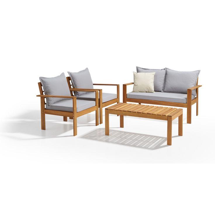 Complete loungeset van hardhout acacia bestaande uit een bijzettafel, 2-zits bank en 2 stoelen. #tuin #LenteKwantum #loungeset