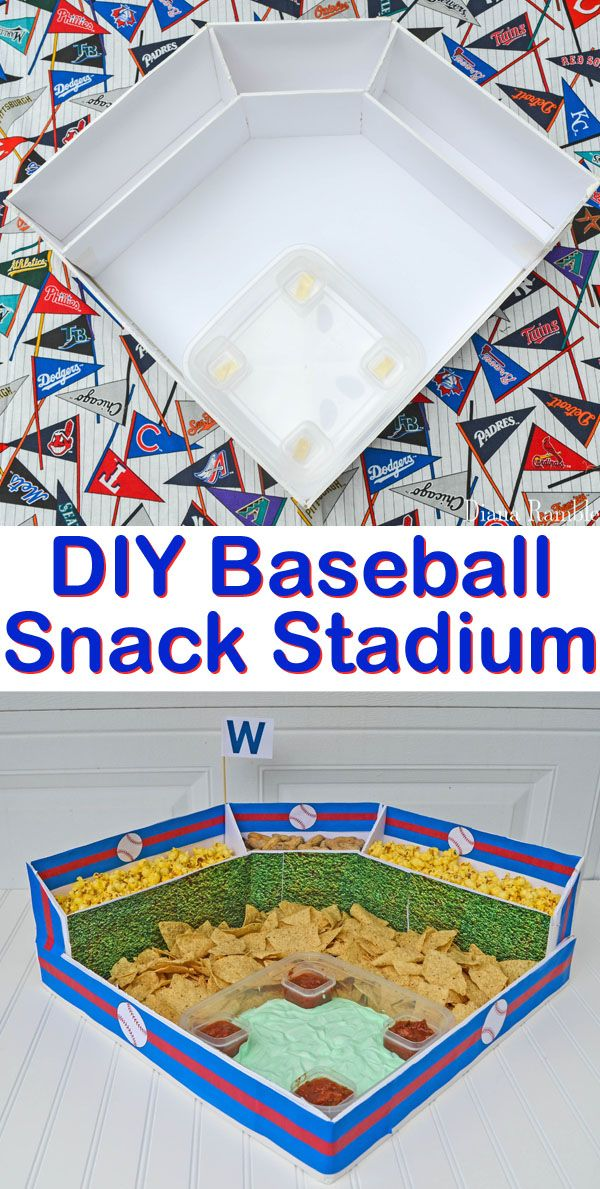 DIY Baseball Snack Stadium Party - Make this Baseball Snack Stadium for all your game day baseball playoffs celebrations. Perfect for a world series viewing or birthday party! #snackstadium #baseball #party
