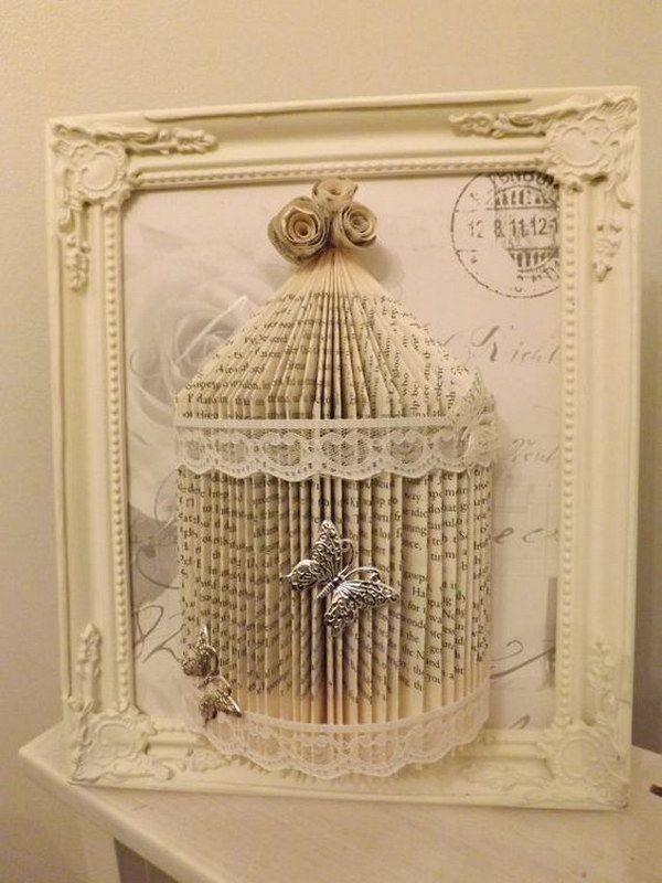 Shabby Chic Book Folding Bird Cage                                                                                                                                                                                 More