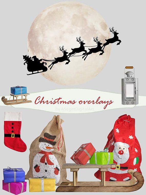 Christmas overlays photo overlay Santa Claus overlay moon