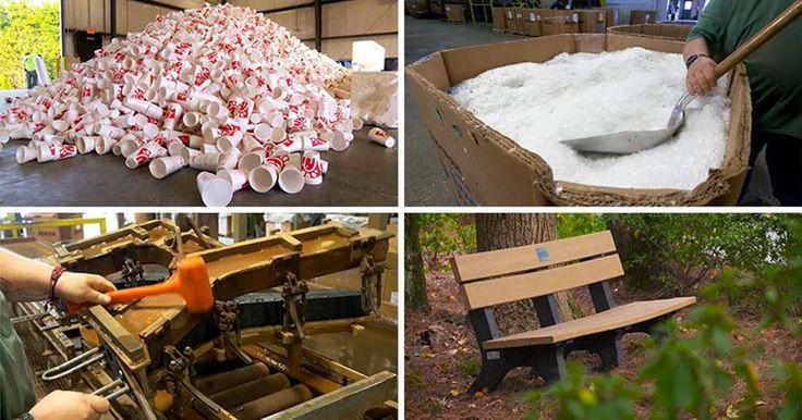 Американская сеть быстрого питания превращает пластиковые стаканчики в скамейки.