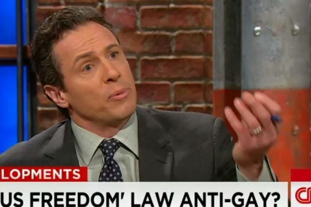 """CNN's Chris Cuomo and an Indiana conservative defending the anti-LGBT religious freedom law got into a heated exchange Tuesday. """"I'm very offended by the things that you're saying about me personally,"""" Ryan McCann, policy director for the conservative Indiana Family Institute, said to Cuomo."""