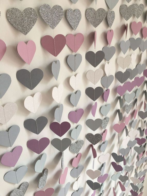 Glitter heart garland, lilac grey, wedding decoration, photo backdrop, baby show…