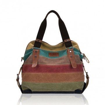 Mulheres Casual Contraste Canvas Stripe Cor Multi-bolso Handbag Bolsa de Ombro
