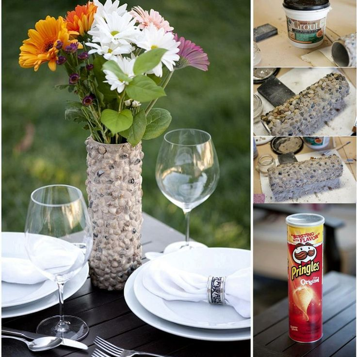 A Beautiful Handcrafted Rustic Rock Vase Made From Pringles Box.