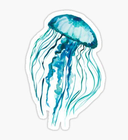 Watercolor Jellyfish Pegatina