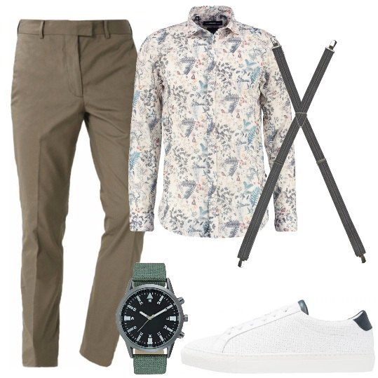 Pantalone a gamba dritta da portare con una rovescia sul fondo, camicia a maniche lunghe in fantasia floreale, bretelle, sneakers bianche con suola in gomma, orologio con cinturino colorato.